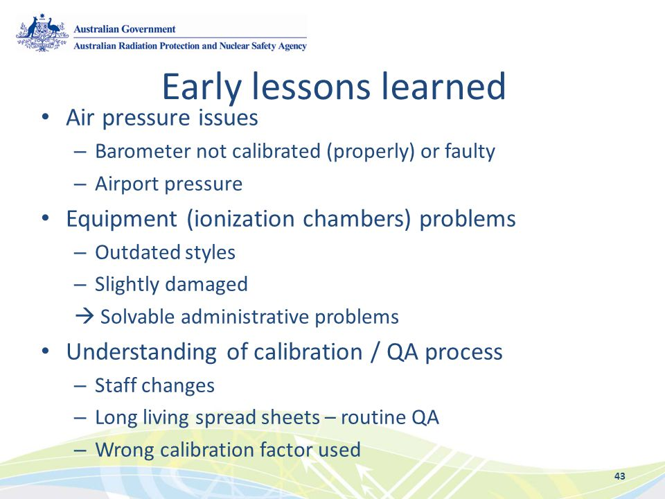 Early lessons learned Air pressure issues