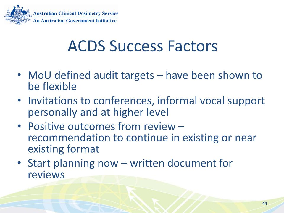 ACDS Success Factors MoU defined audit targets – have been shown to be flexible.