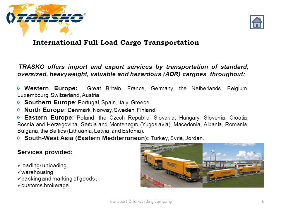 International Full Load Cargo Transportation