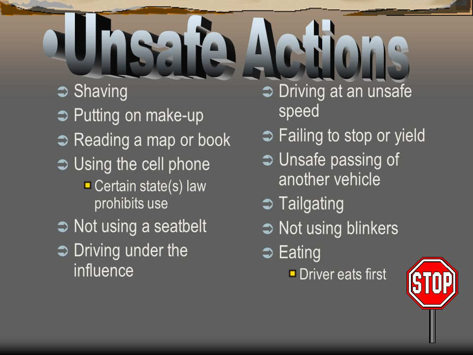 Unsafe Actions Shaving Putting on make-up Reading a map or book