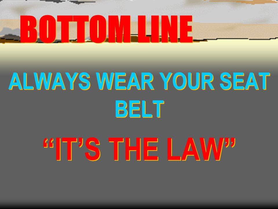 ALWAYS WEAR YOUR SEAT BELT IT'S THE LAW