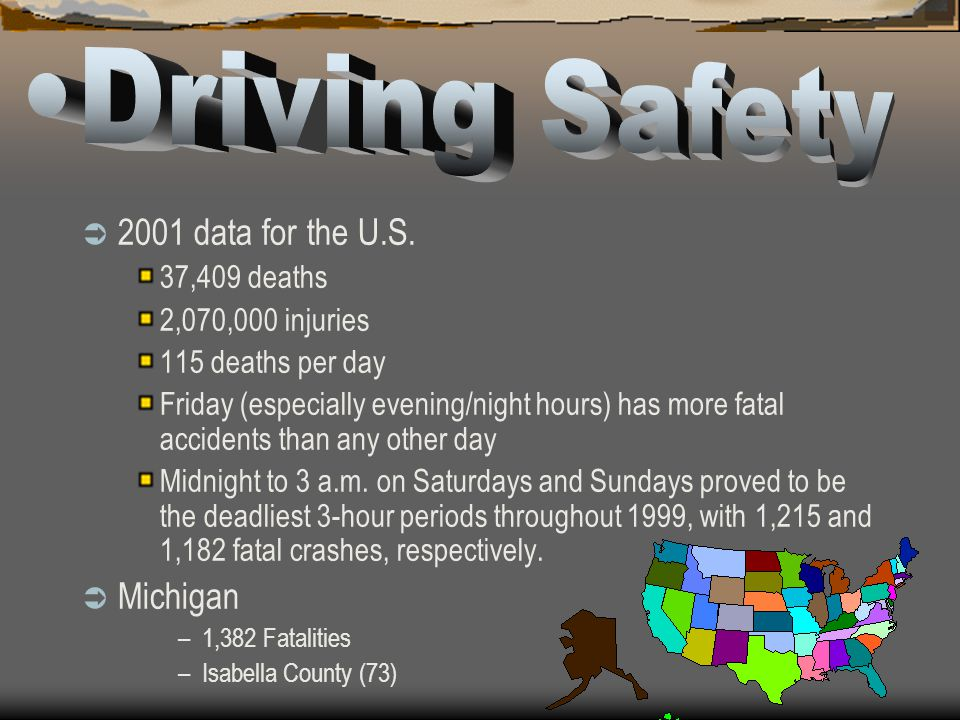 Driving Safety 2001 data for the U.S. Michigan 37,409 deaths
