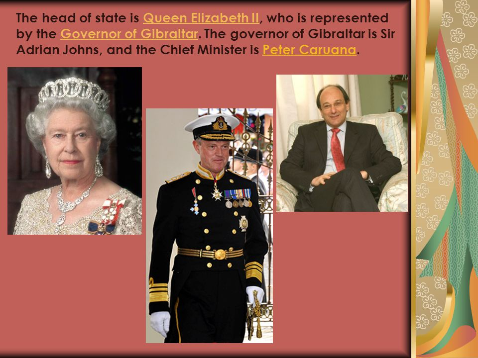 The head of state is Queen Elizabeth II, who is represented by the Governor of Gibraltar.