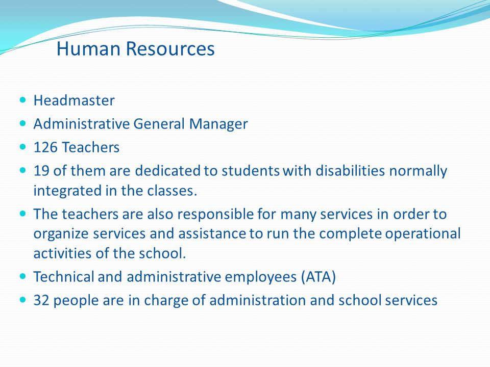 Human Resources Headmaster Administrative General Manager 126 Teachers