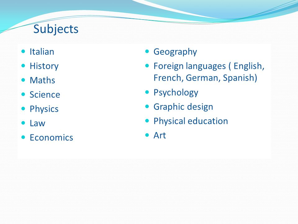 Subjects Italian Geography History