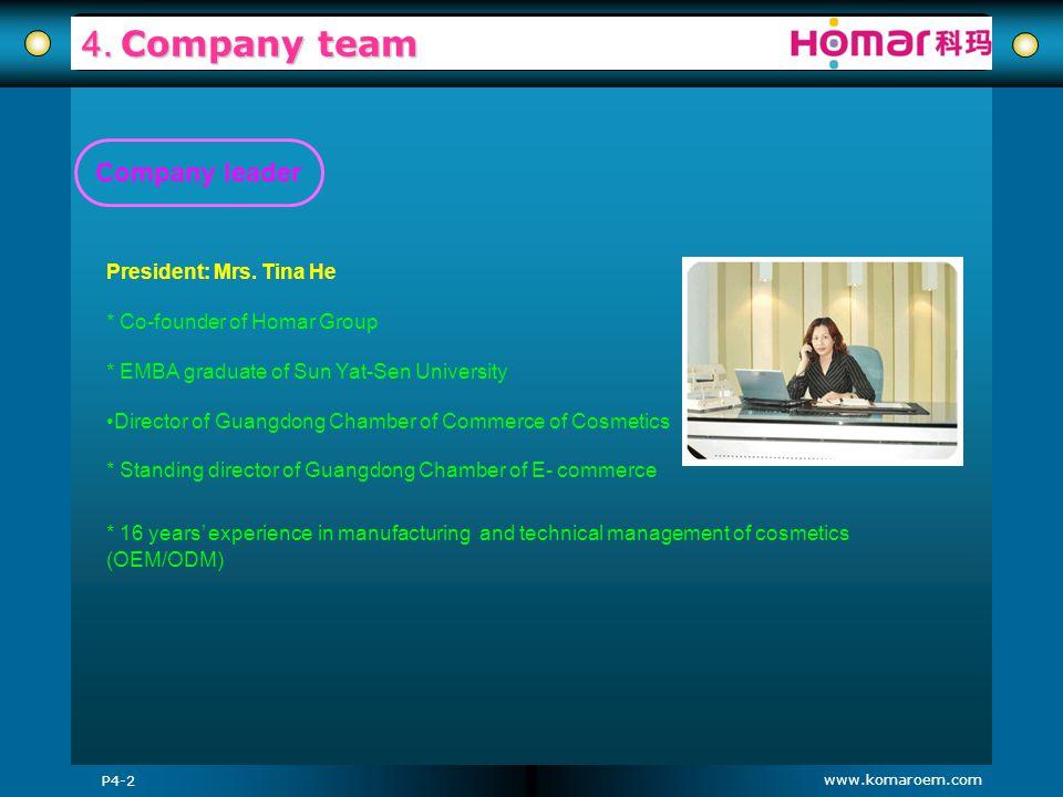4. Company team Company leader President: Mrs. Tina He