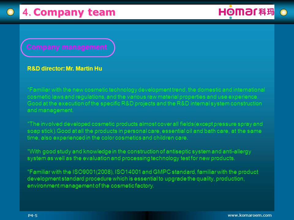 4. Company team Company management R&D director: Mr. Martin Hu