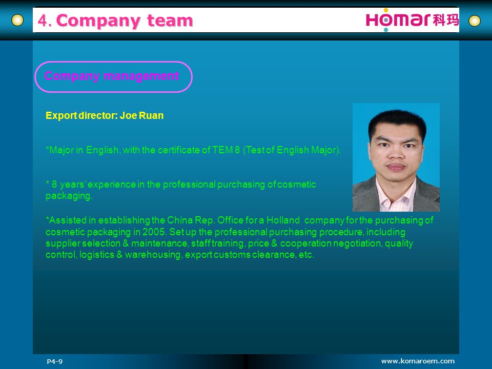 4. Company team Company management Export director: Joe Ruan