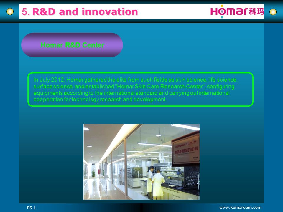5. R&D and innovation Homar R&D Center