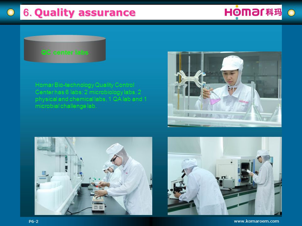 6. Quality assurance QC center labs
