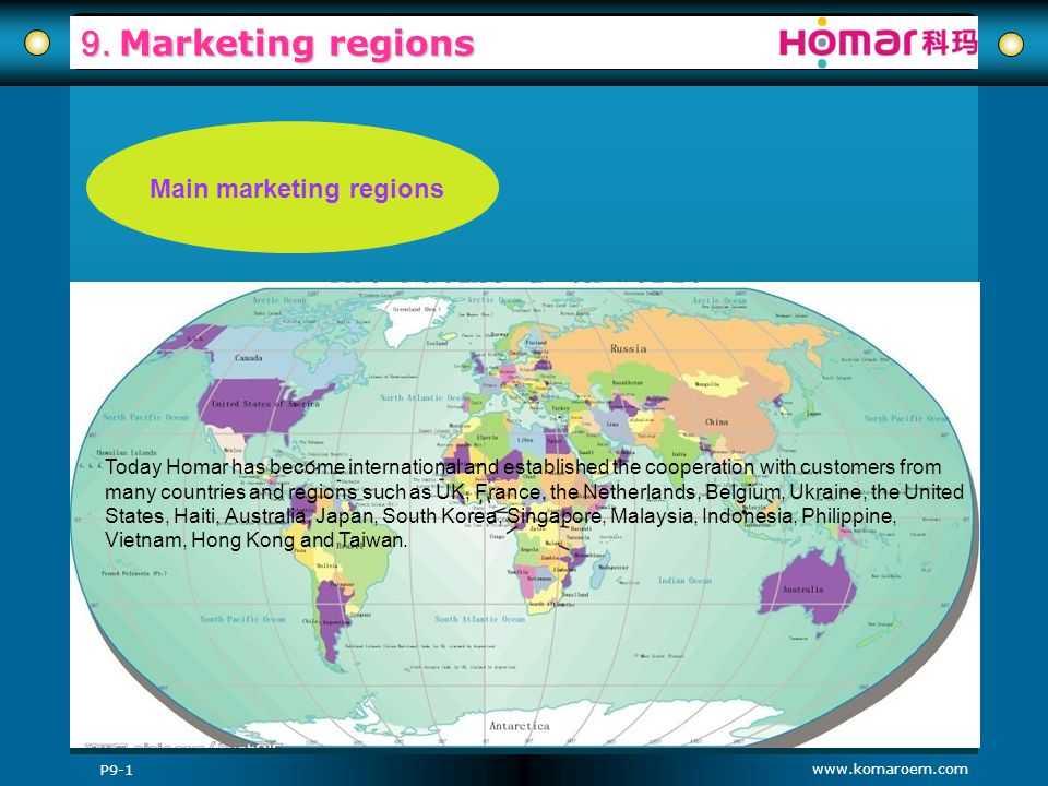Main marketing regions