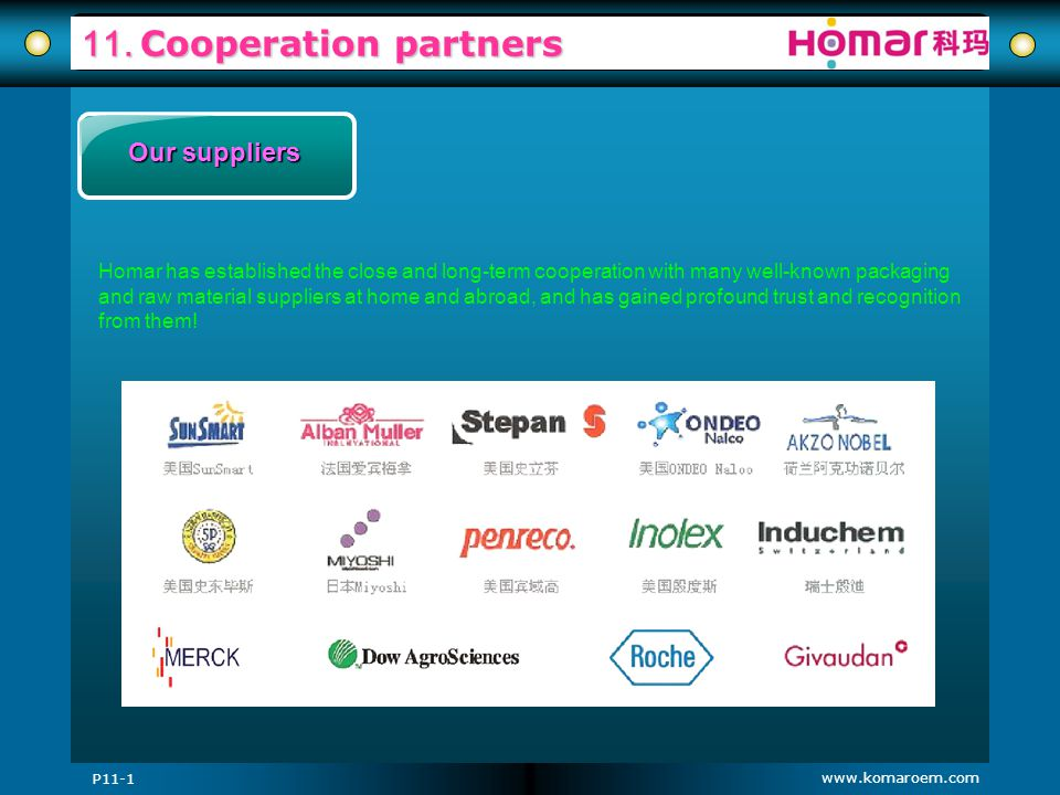 11. Cooperation partners Our suppliers