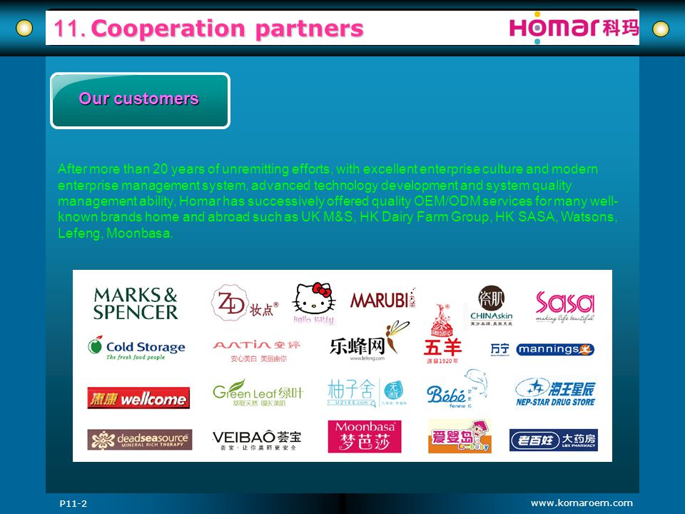 11. Cooperation partners Our customers