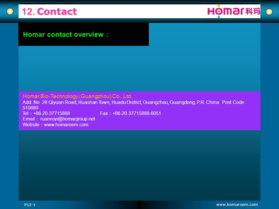 12. Contact Homar contact overview: