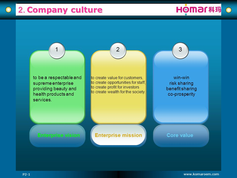 2. Company culture 1 2 3 Enterprise vision Enterprise mission