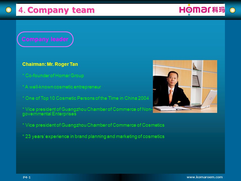 4. Company team Company leader Chairman: Mr. Roger Tan
