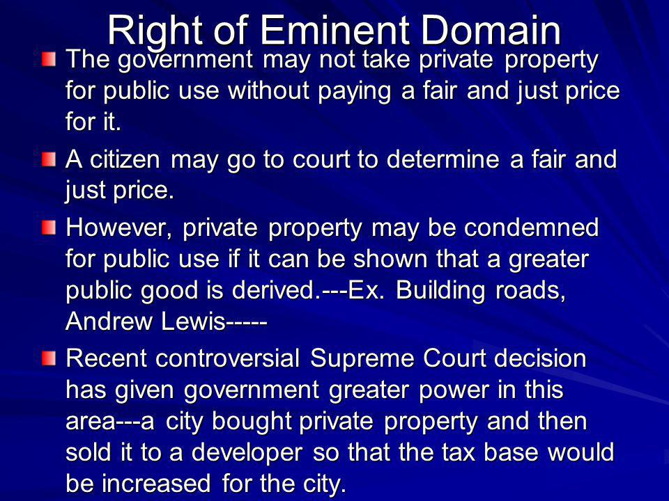 Right of Eminent Domain