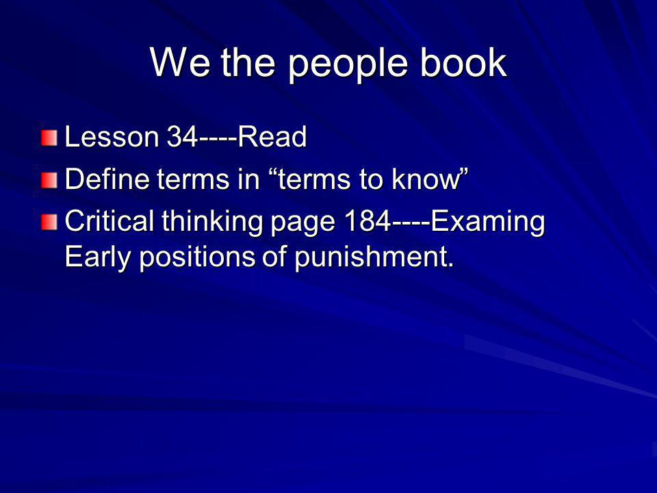 We the people book Lesson 34----Read Define terms in terms to know
