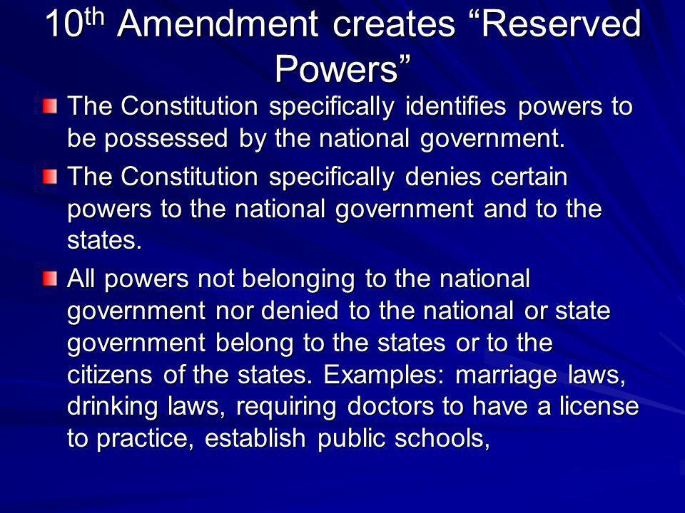 10th Amendment creates Reserved Powers