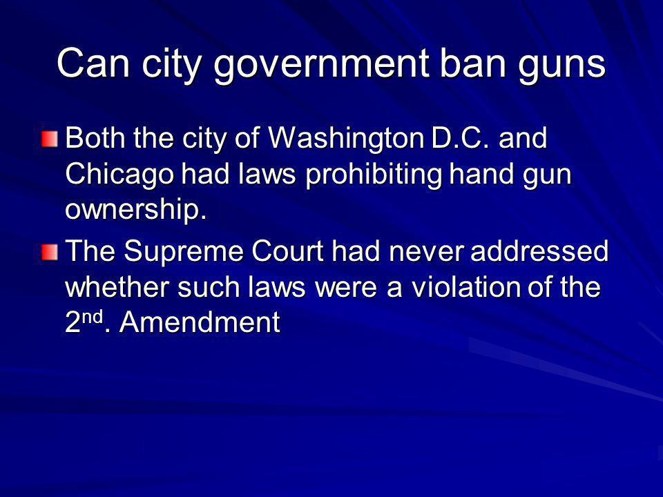 Can city government ban guns