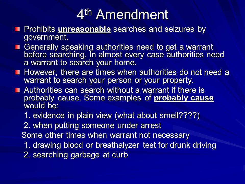 4th Amendment Prohibits unreasonable searches and seizures by government.