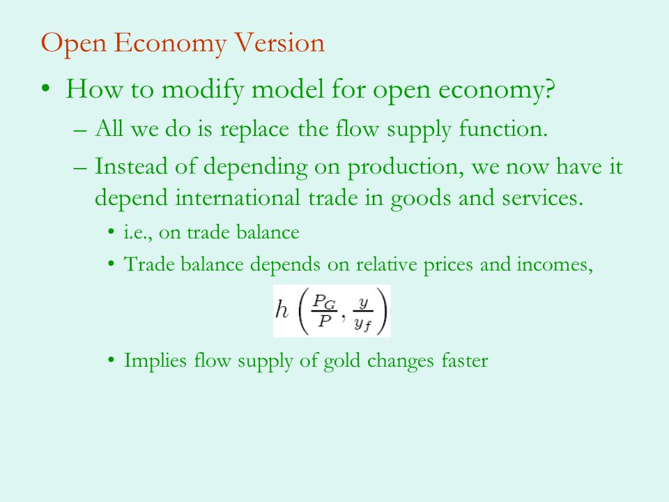 How to modify model for open economy