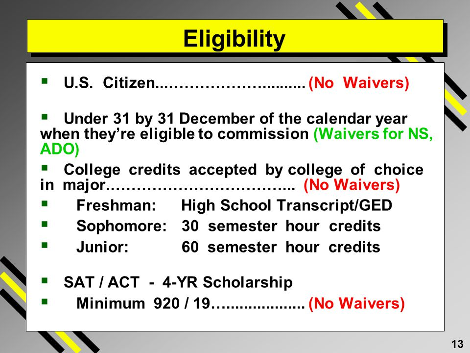 Eligibility U.S. Citizen...……………….......... (No Waivers)