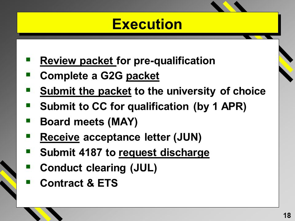 Execution Review packet for pre-qualification Complete a G2G packet