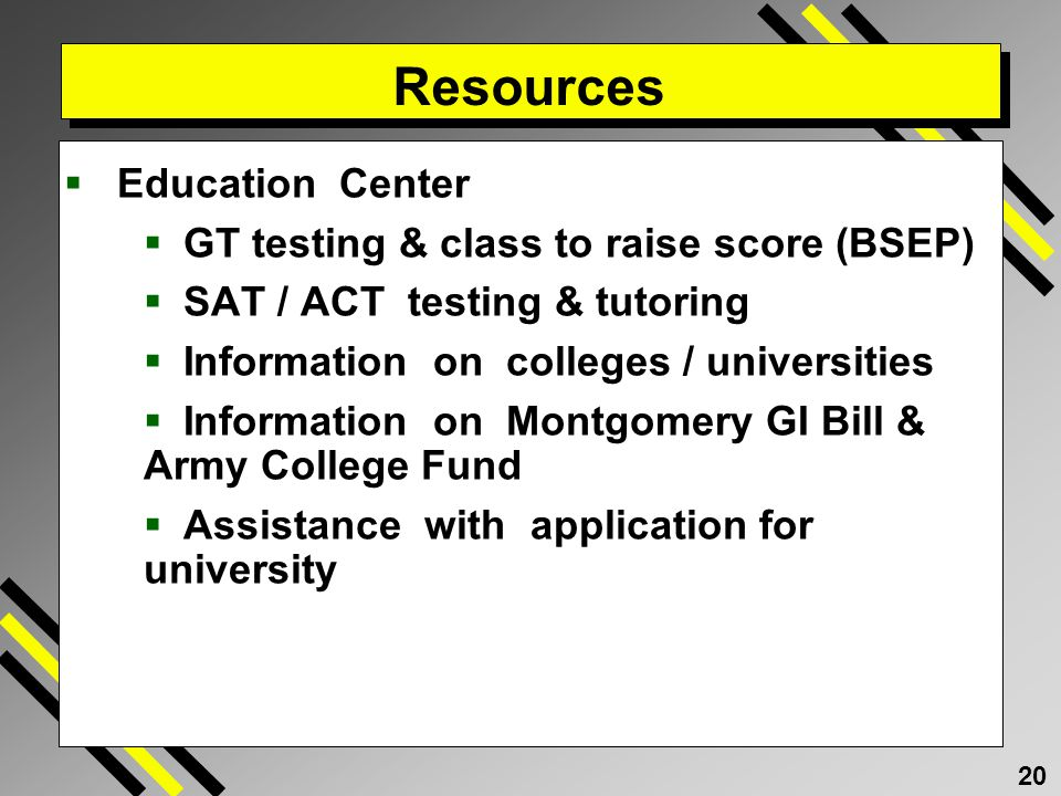 Resources Education Center GT testing & class to raise score (BSEP)