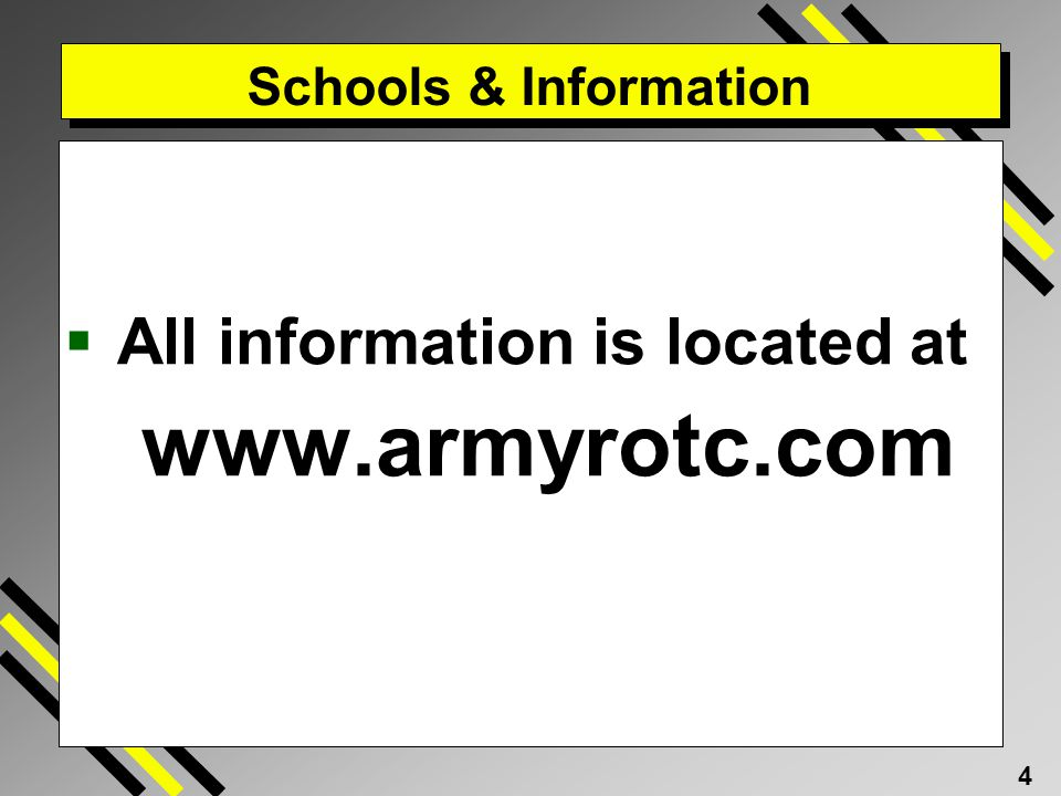 Schools & Information All information is located at www.armyrotc.com