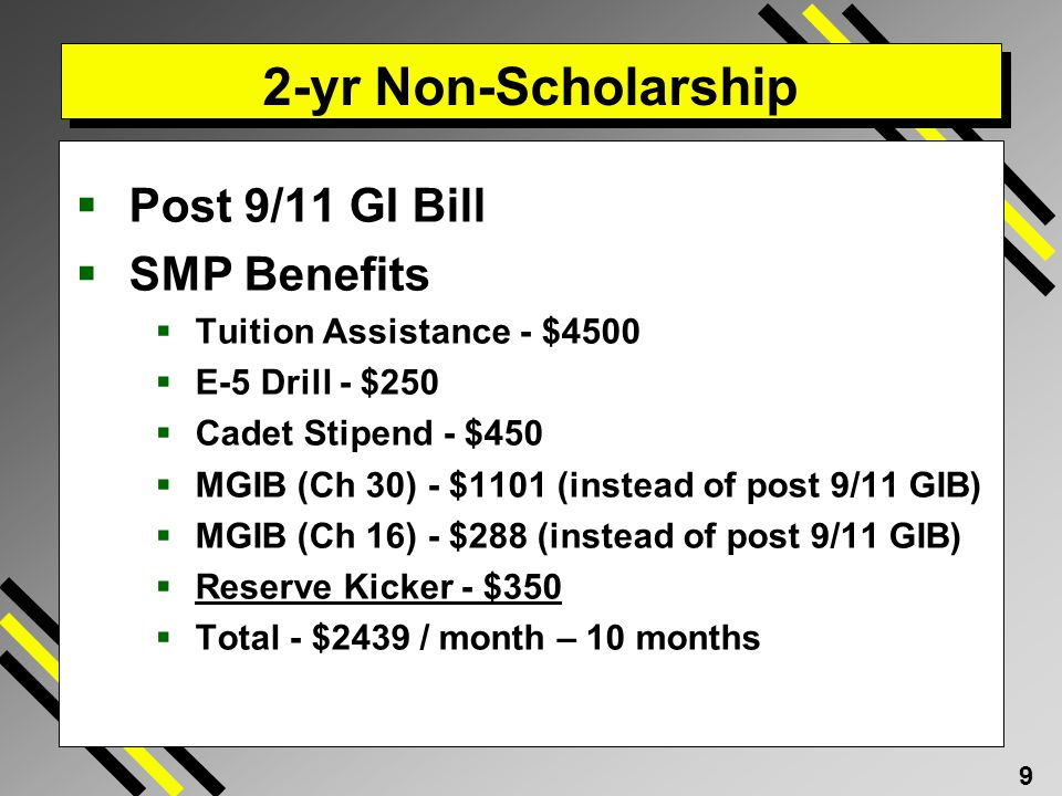2-yr Non-Scholarship Post 9/11 GI Bill SMP Benefits