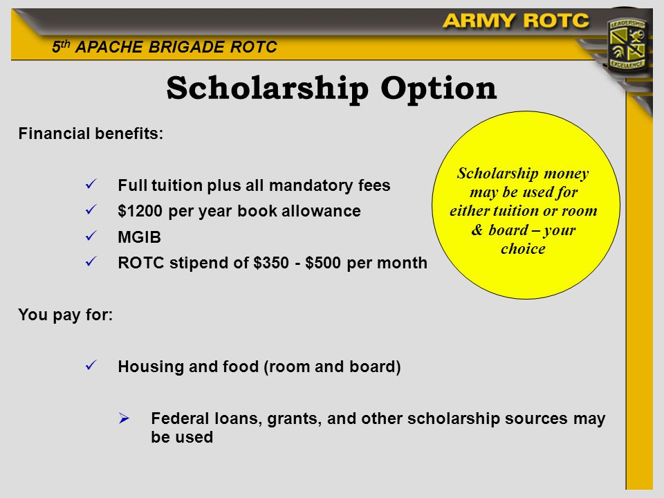 Scholarship Option Financial benefits: