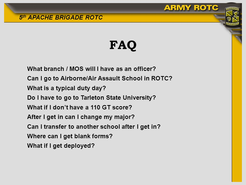 FAQ What branch / MOS will I have as an officer