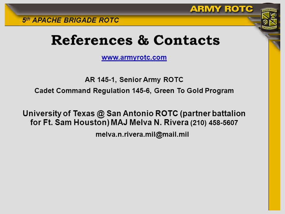 Cadet Command Regulation 145-6, Green To Gold Program