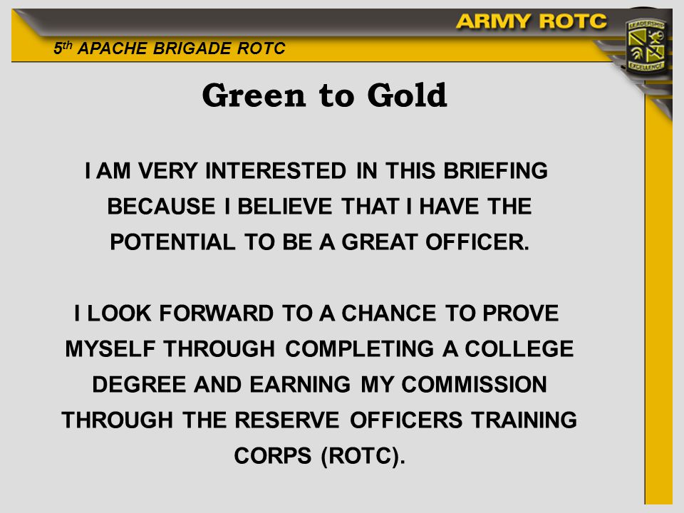 Green to Gold I AM VERY INTERESTED IN THIS BRIEFING