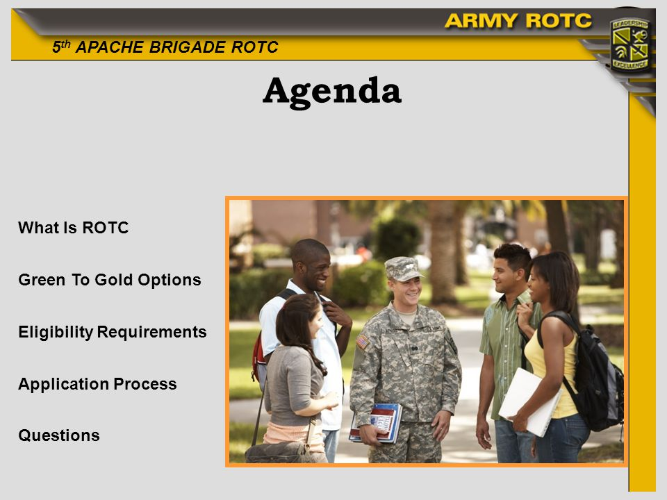 Agenda What Is ROTC Green To Gold Options Eligibility Requirements