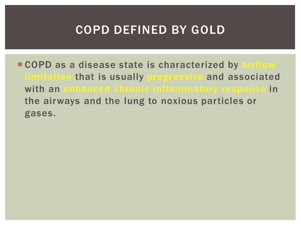 COPD Defined by GOLD