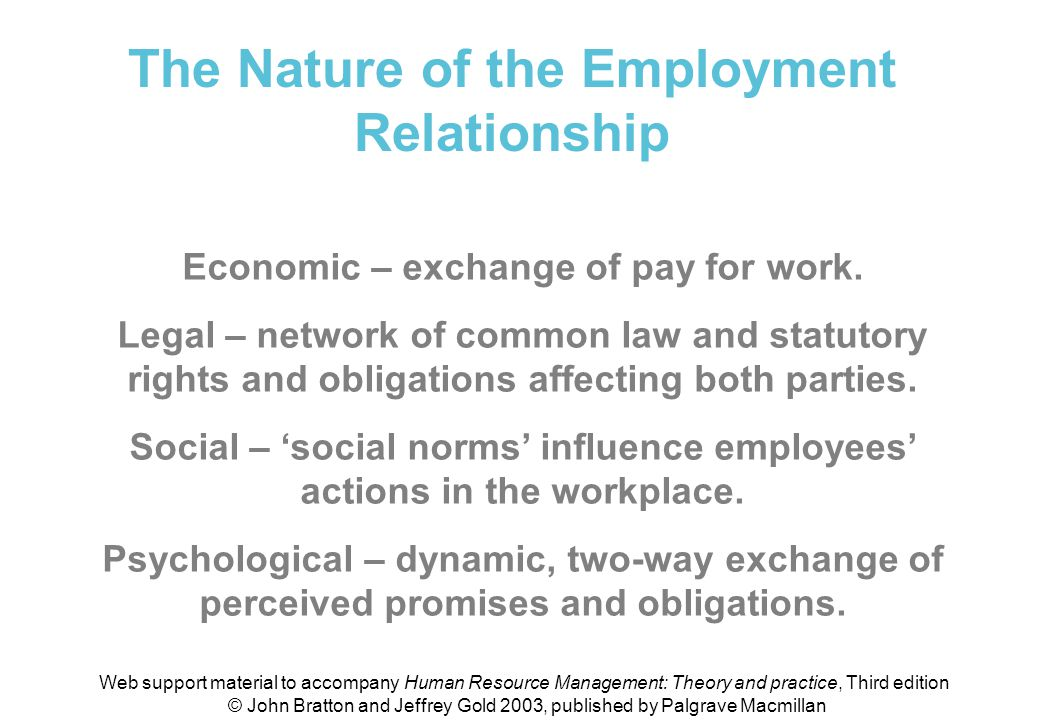 the psychology of the employment relationship
