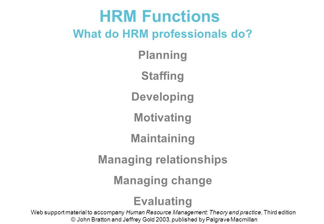 What do HRM professionals do Managing relationships