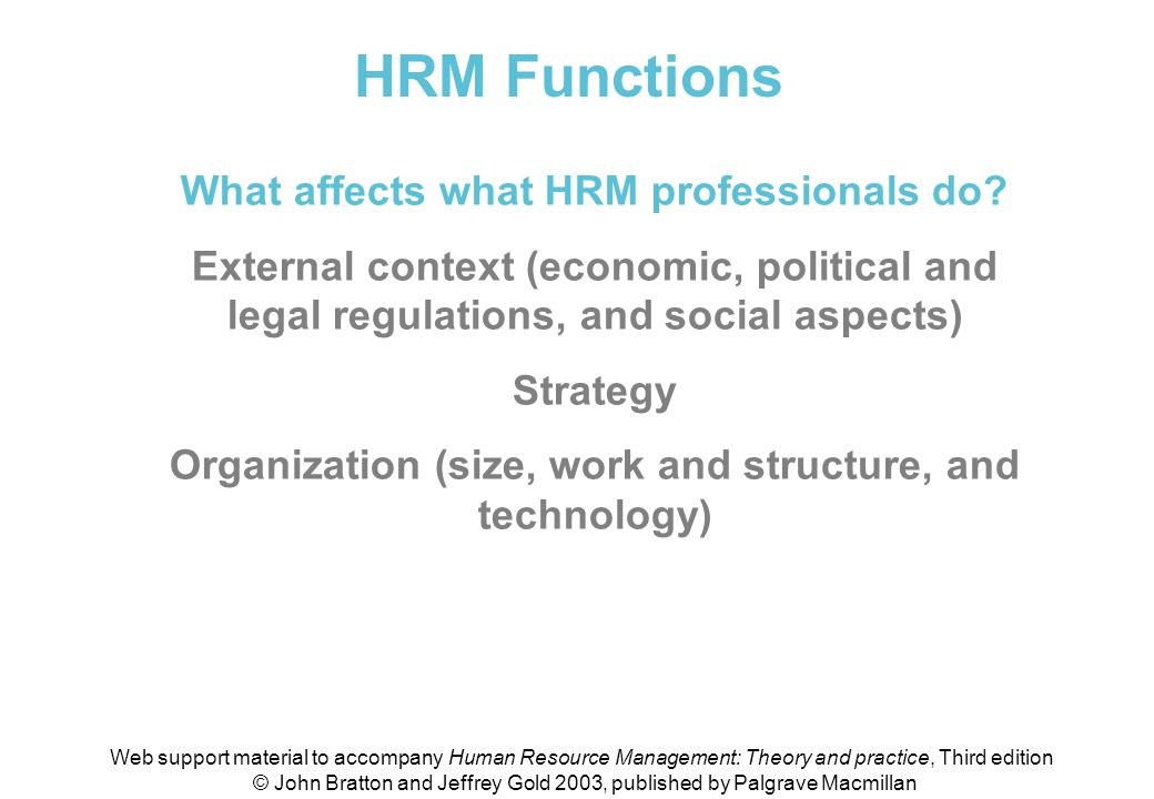 HRM Functions What affects what HRM professionals do