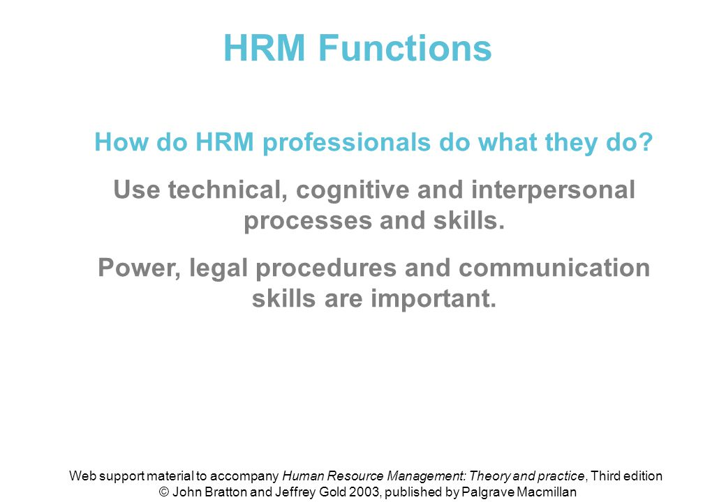 HRM Functions How do HRM professionals do what they do