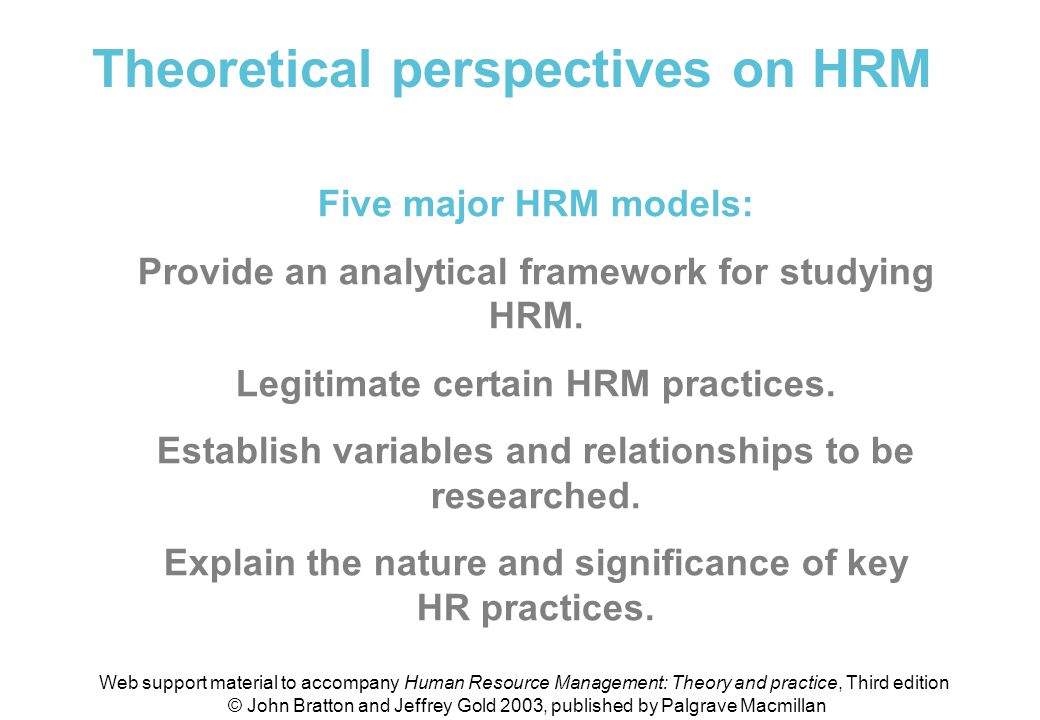Theoretical perspectives on HRM