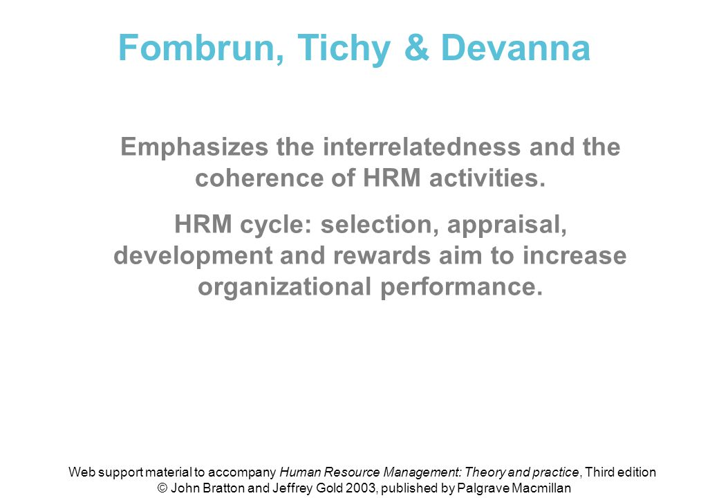 Fombrun, Tichy & Devanna