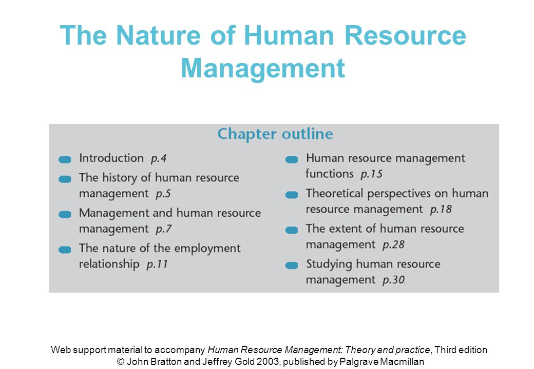 The Nature of Human Resource Management