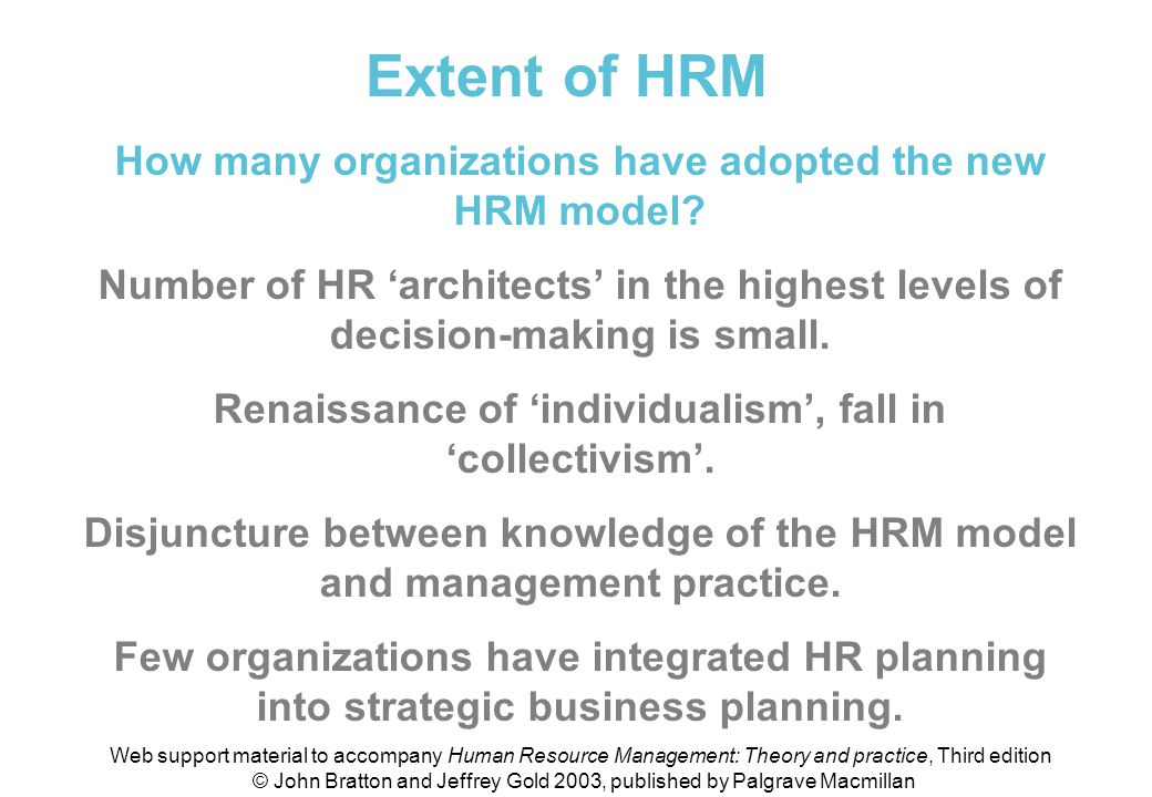 Extent of HRM How many organizations have adopted the new HRM model