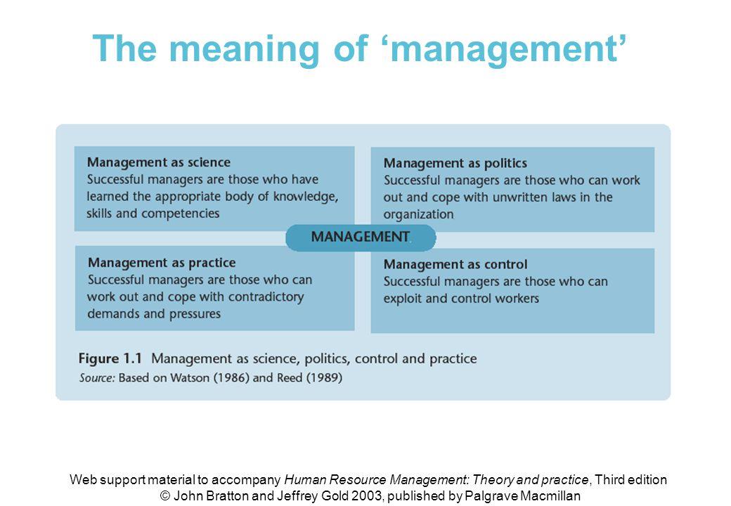 Figure 1.1 Management as science, politics, control & practice