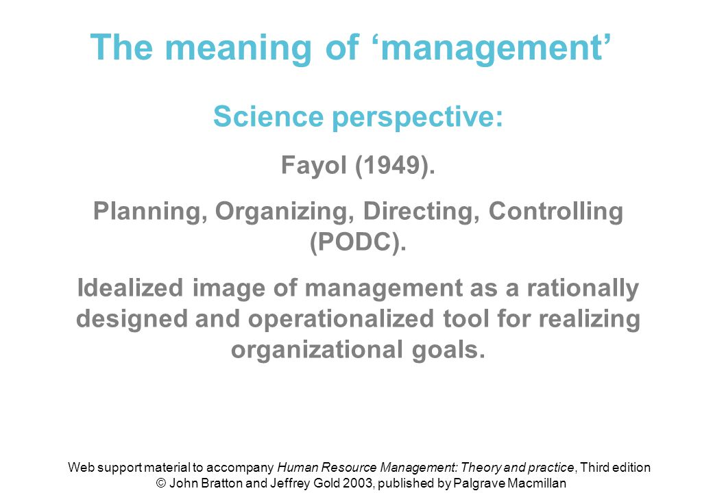 Meaning of 'management' (science perspective)