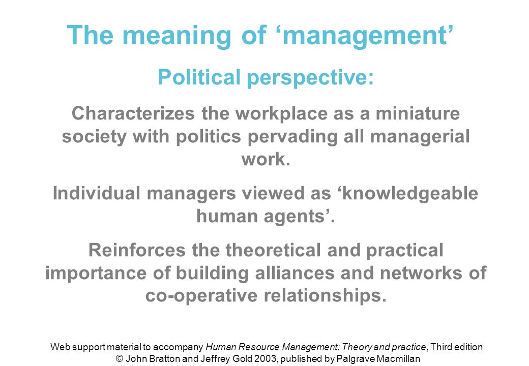 Meaning of 'management' (political perspective)