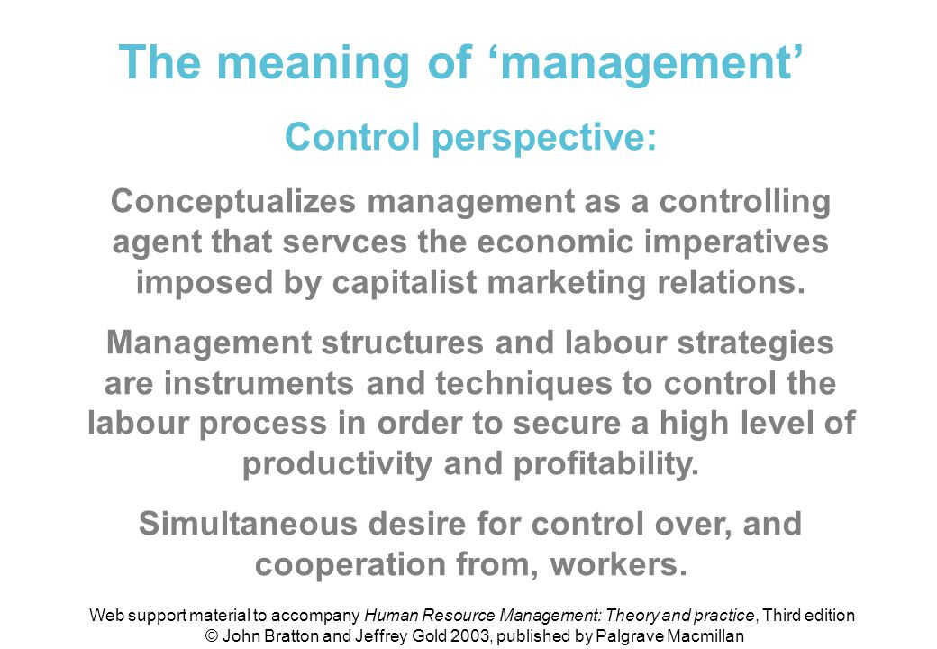 Meaning of 'management' (control perspective)