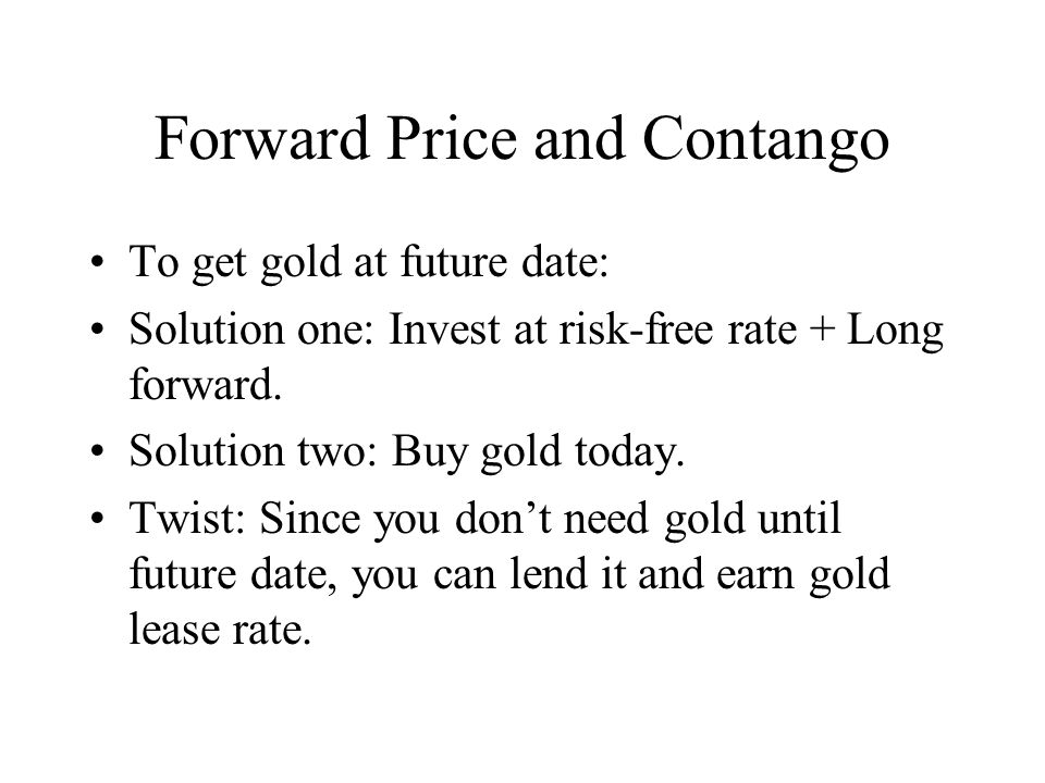 Forward Price and Contango